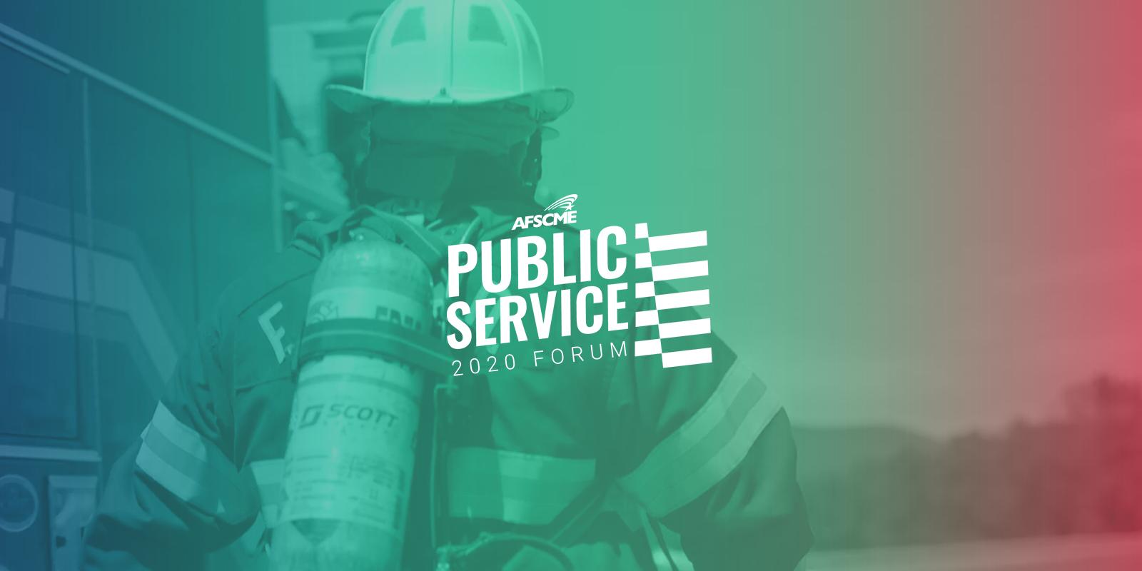 Public Service 2020 Forum over photo of a public service worker